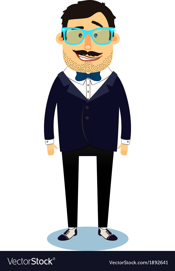 Hipster geek business man character vector | Price: 1 Credit (USD $1)