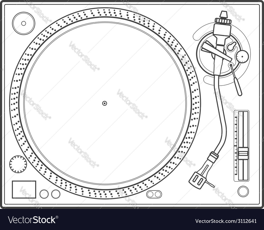 Outline vinyl turntable vector | Price: 1 Credit (USD $1)