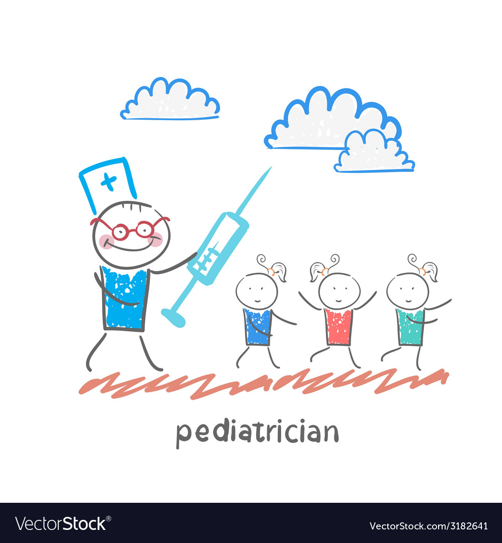 Pediatrician with a syringe runs for children vector | Price: 1 Credit (USD $1)