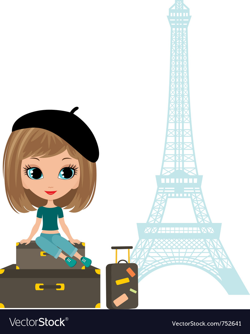 Pretty girl in the paris vector | Price: 3 Credit (USD $3)