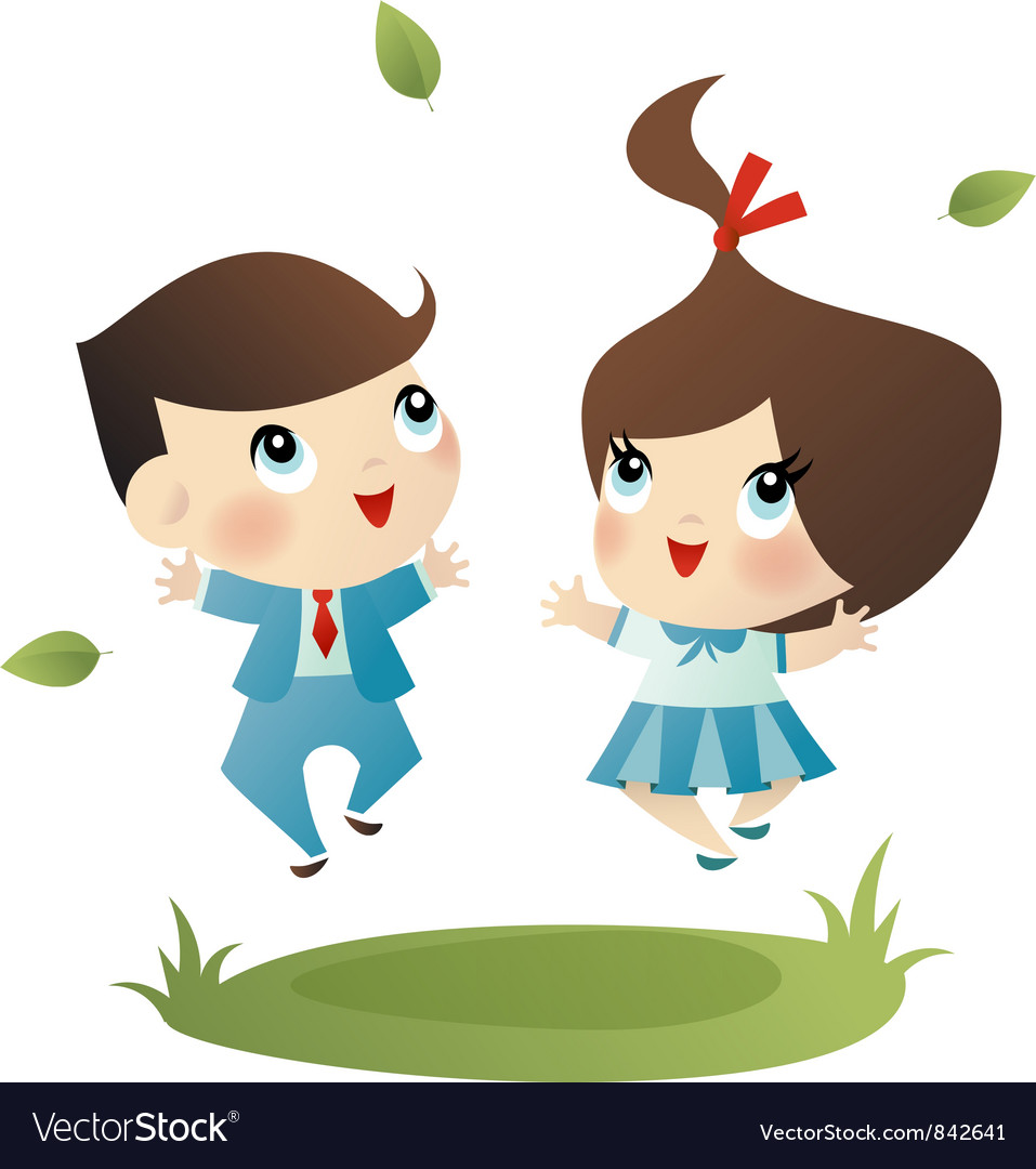 School boy and girl vector | Price: 3 Credit (USD $3)