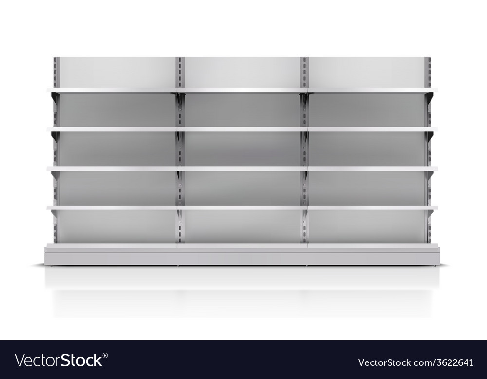 Supermarket shelf isolated vector