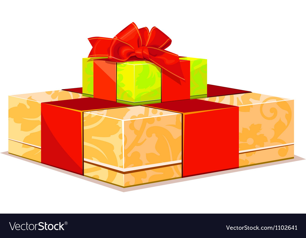 Two colorful gift box on white background vector | Price: 1 Credit (USD $1)