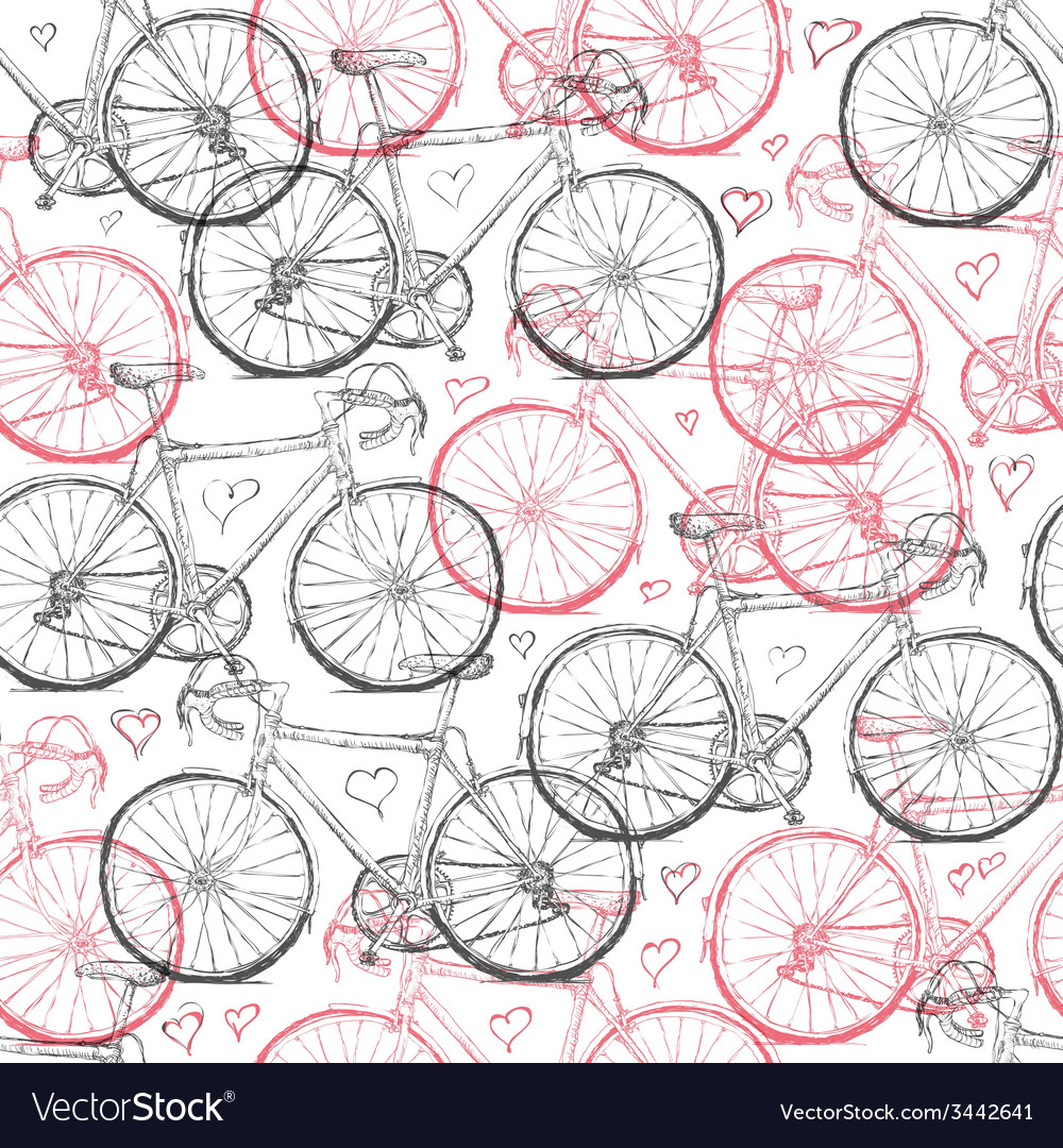 Vintage bicycle hand drawn seamless pattern with h vector | Price: 1 Credit (USD $1)