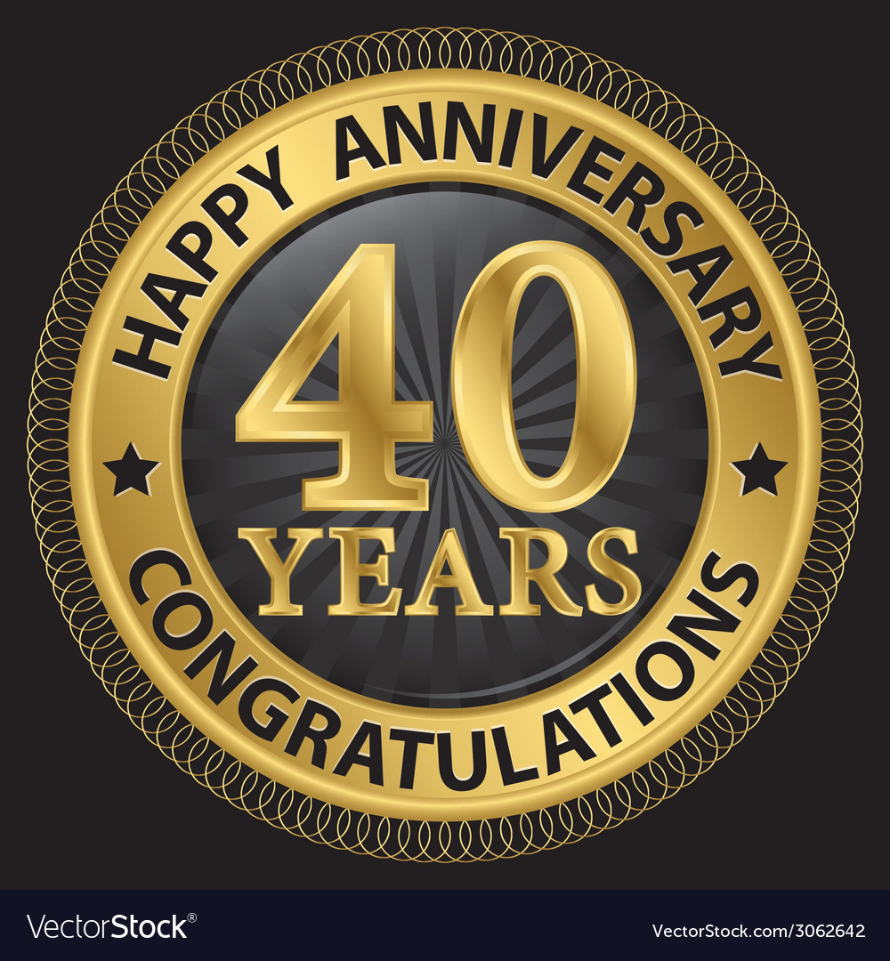 40 years happy anniversary congratulations gold vector | Price: 1 Credit (USD $1)