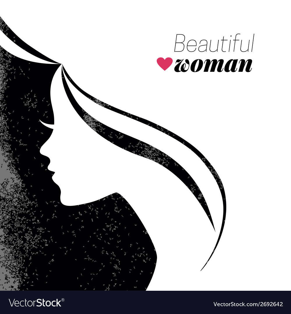 Beautiful woman silhouette vector | Price: 1 Credit (USD $1)
