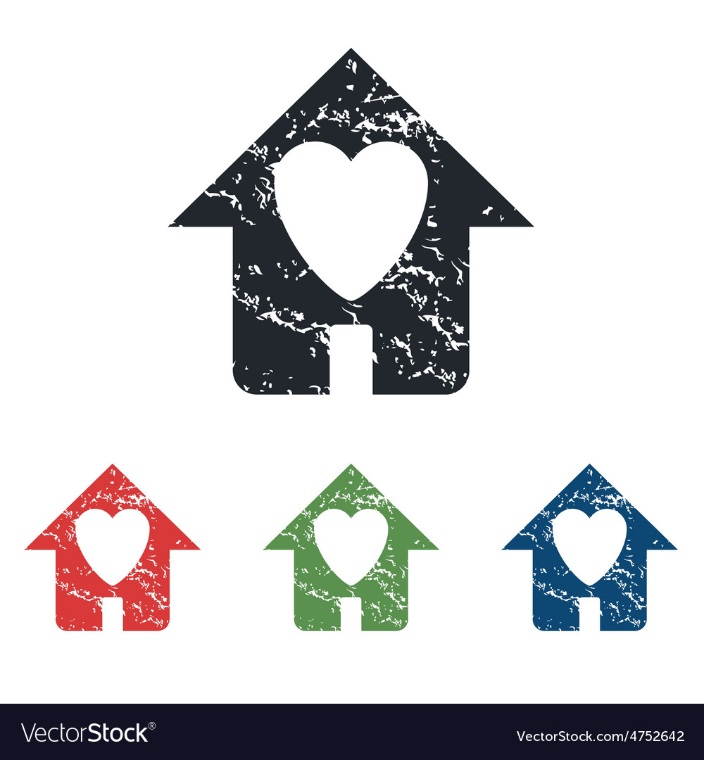 Beloved house grunge icon set vector | Price: 1 Credit (USD $1)