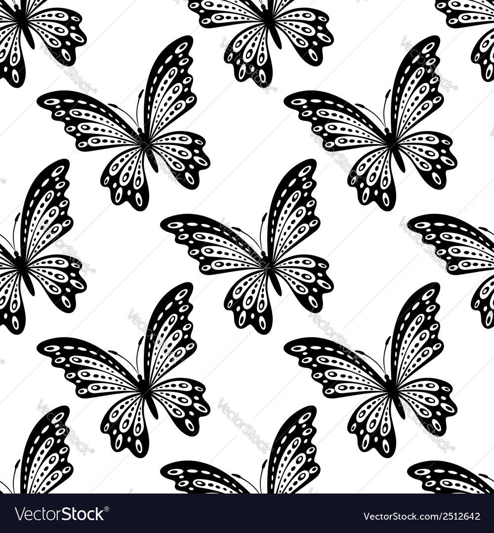 Black and white seamless pattern of butterflies vector | Price: 1 Credit (USD $1)