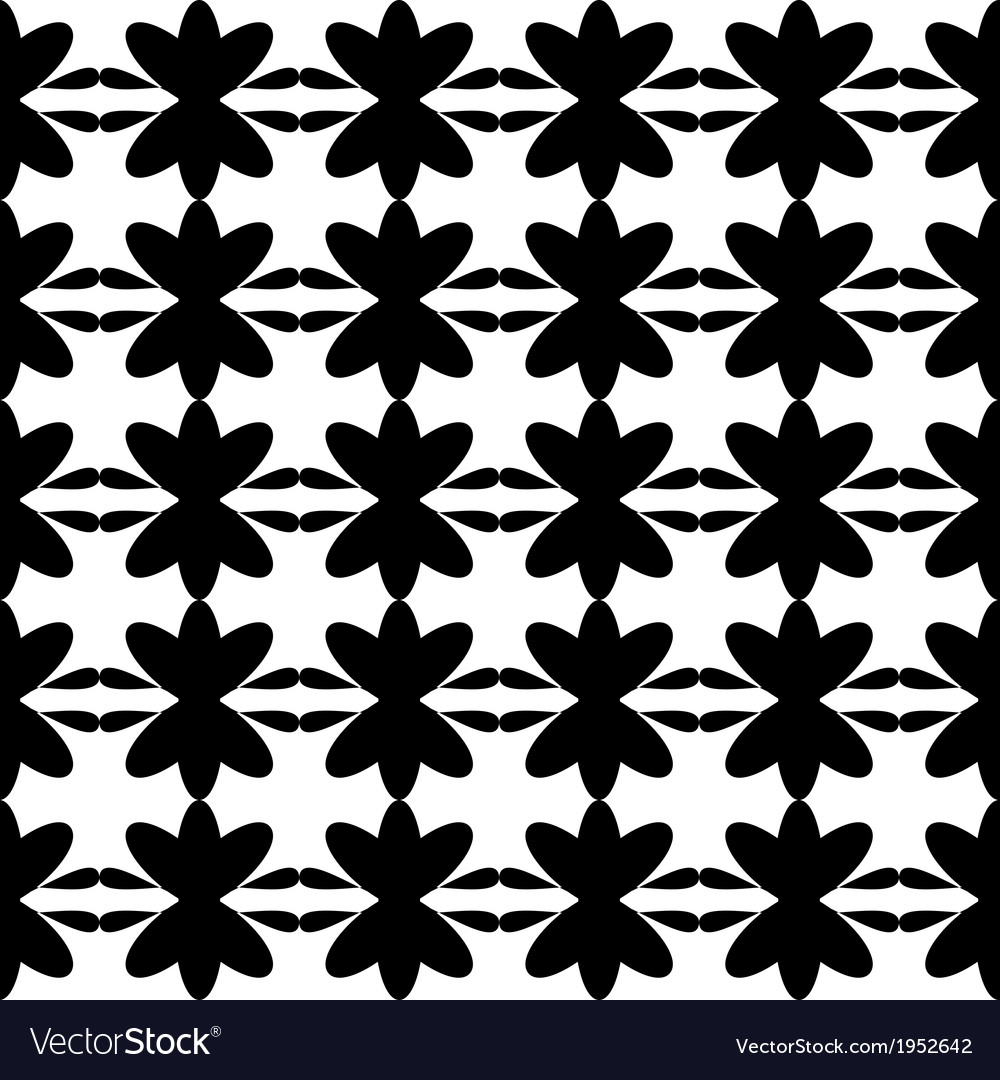 Black pattern floral seamless on white background vector   Price: 1 Credit (USD $1)