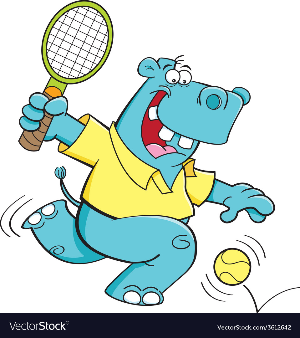 Cartoon hippo playing tennis vector | Price: 1 Credit (USD $1)