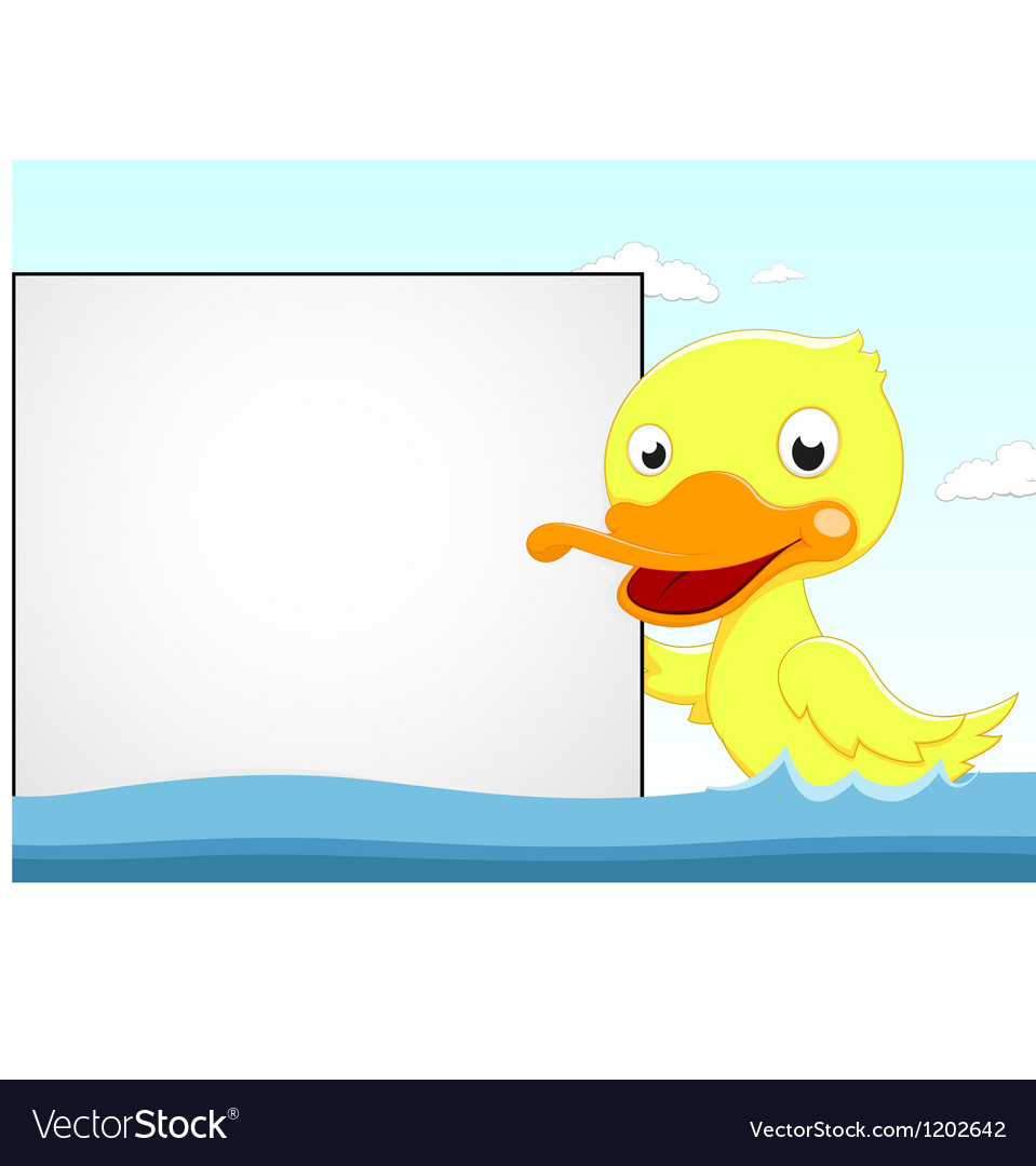 Cute duck with blank sign vector | Price: 1 Credit (USD $1)