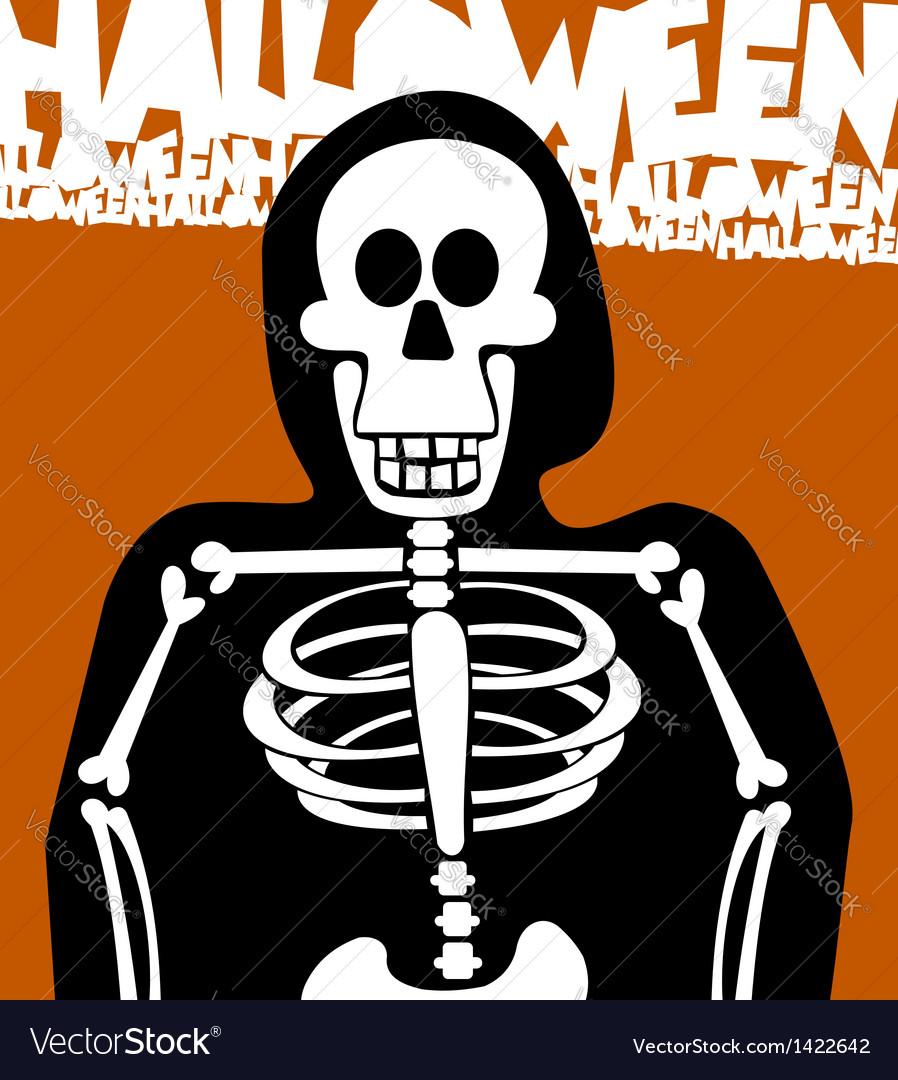 Halloween skeleton greeting card vector | Price: 1 Credit (USD $1)