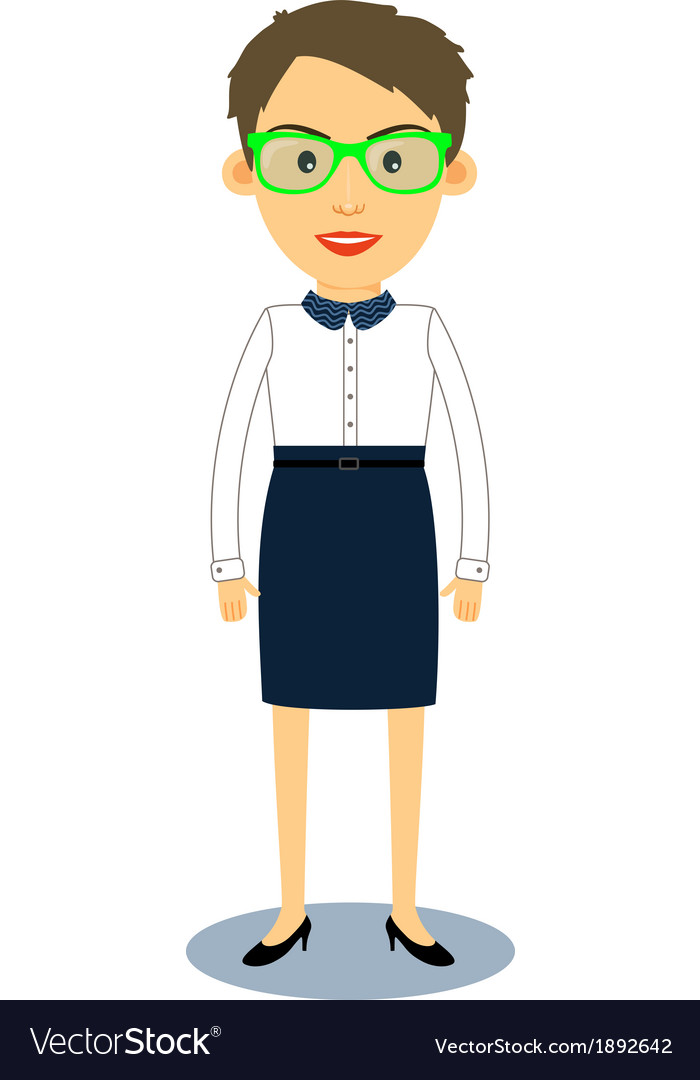 Hipster geek business woman character vector | Price: 1 Credit (USD $1)