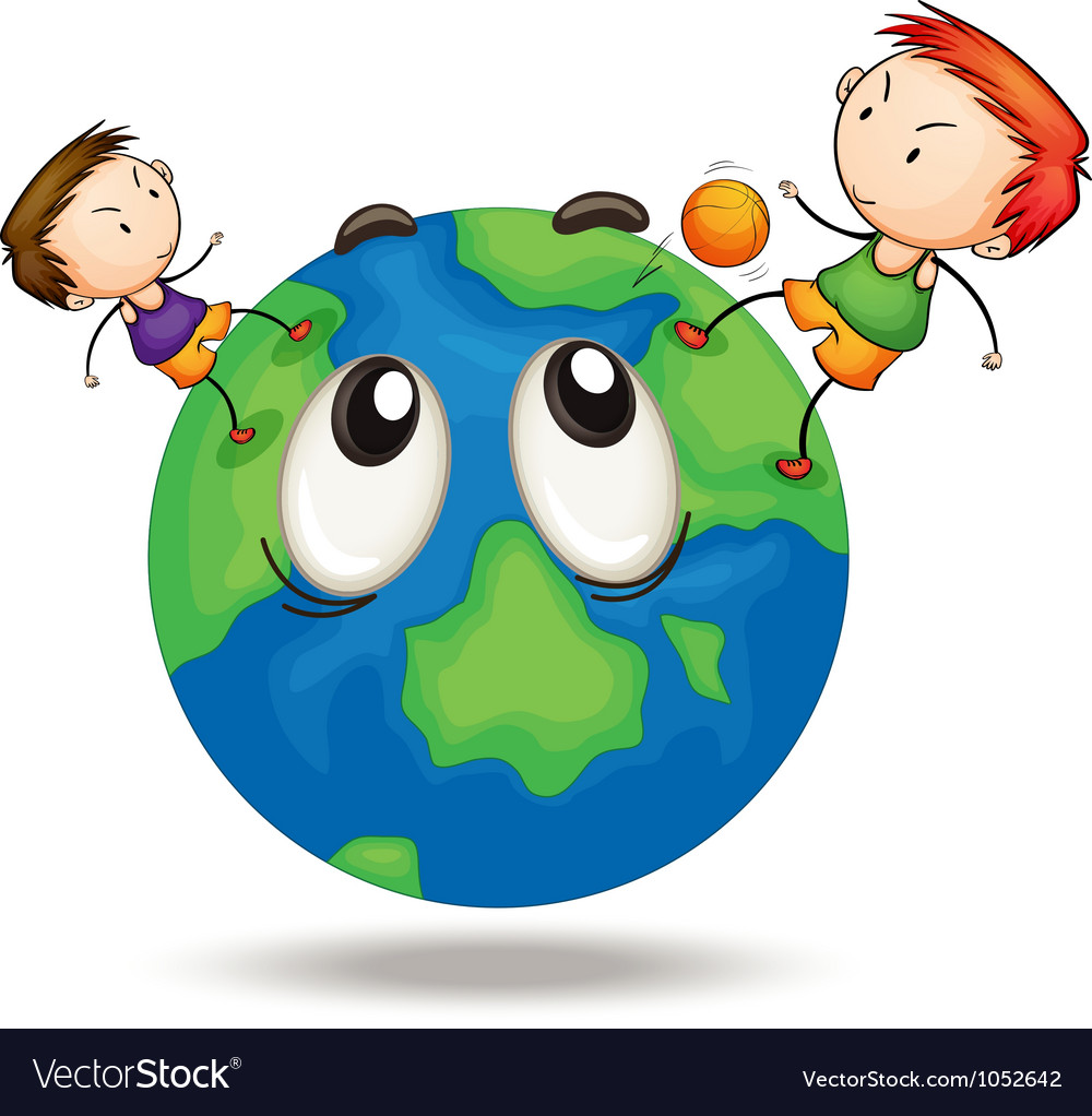 Kids on a earth globe vector | Price: 3 Credit (USD $3)