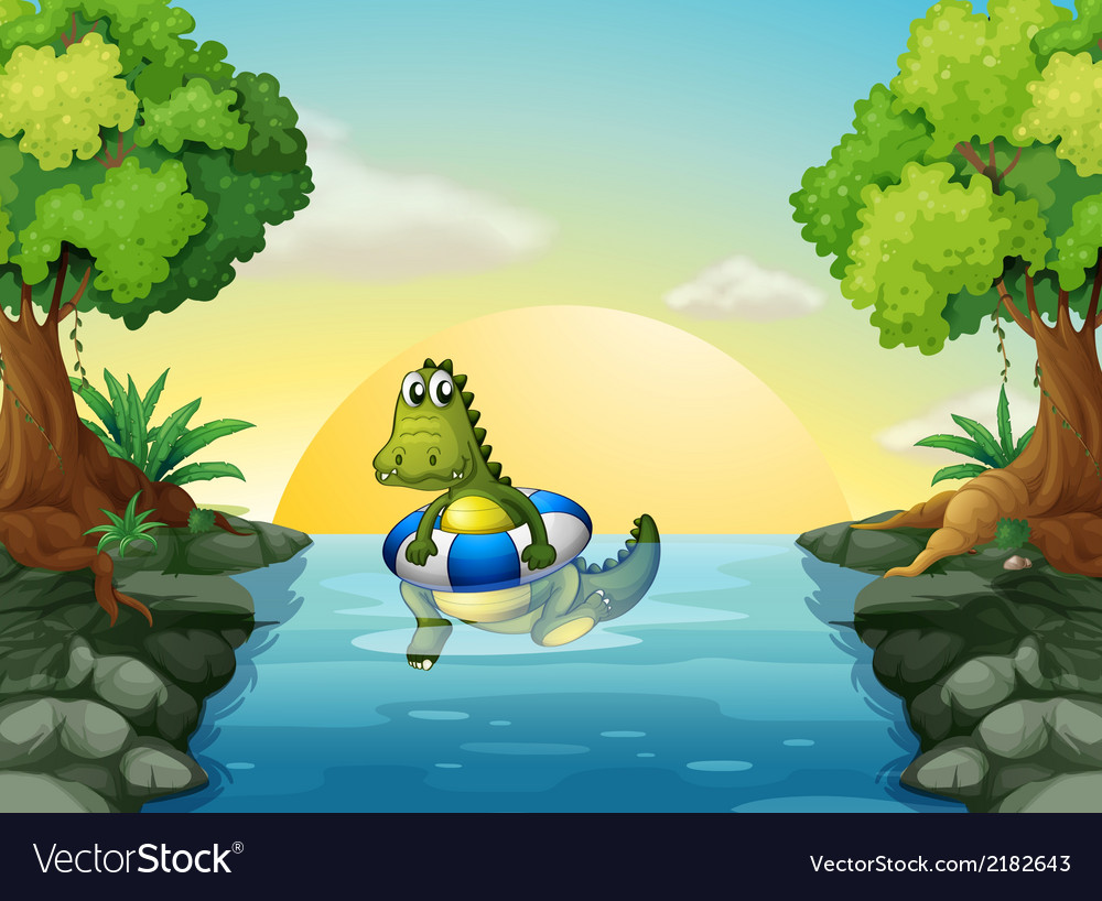 A crocodile at the river vector | Price: 3 Credit (USD $3)