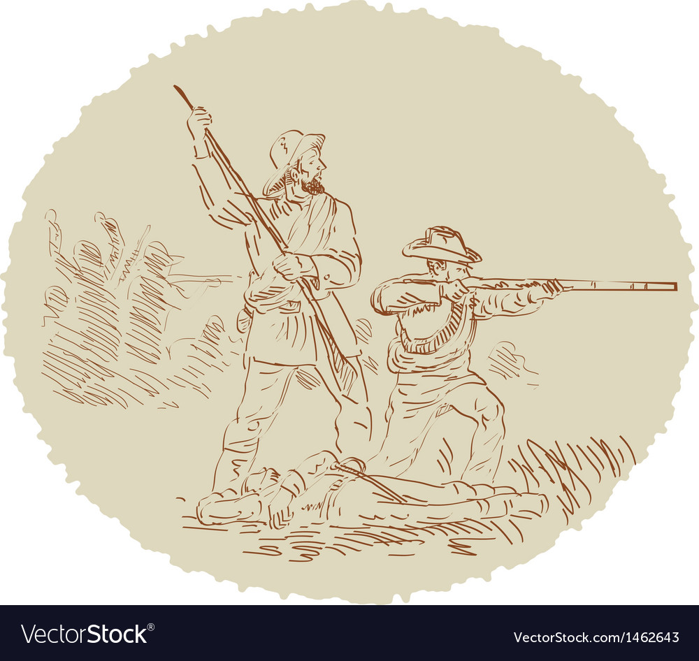 American civil war confederate soldier fighting vector | Price: 1 Credit (USD $1)