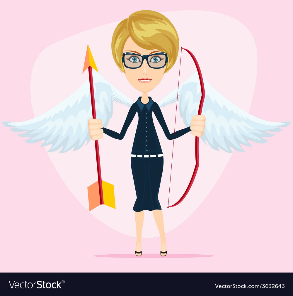 Beautiful girl in a cupid suit with wings bow and vector | Price: 1 Credit (USD $1)