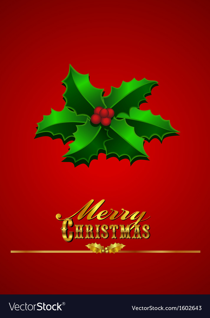 Christmas card holly - red background vector | Price: 1 Credit (USD $1)