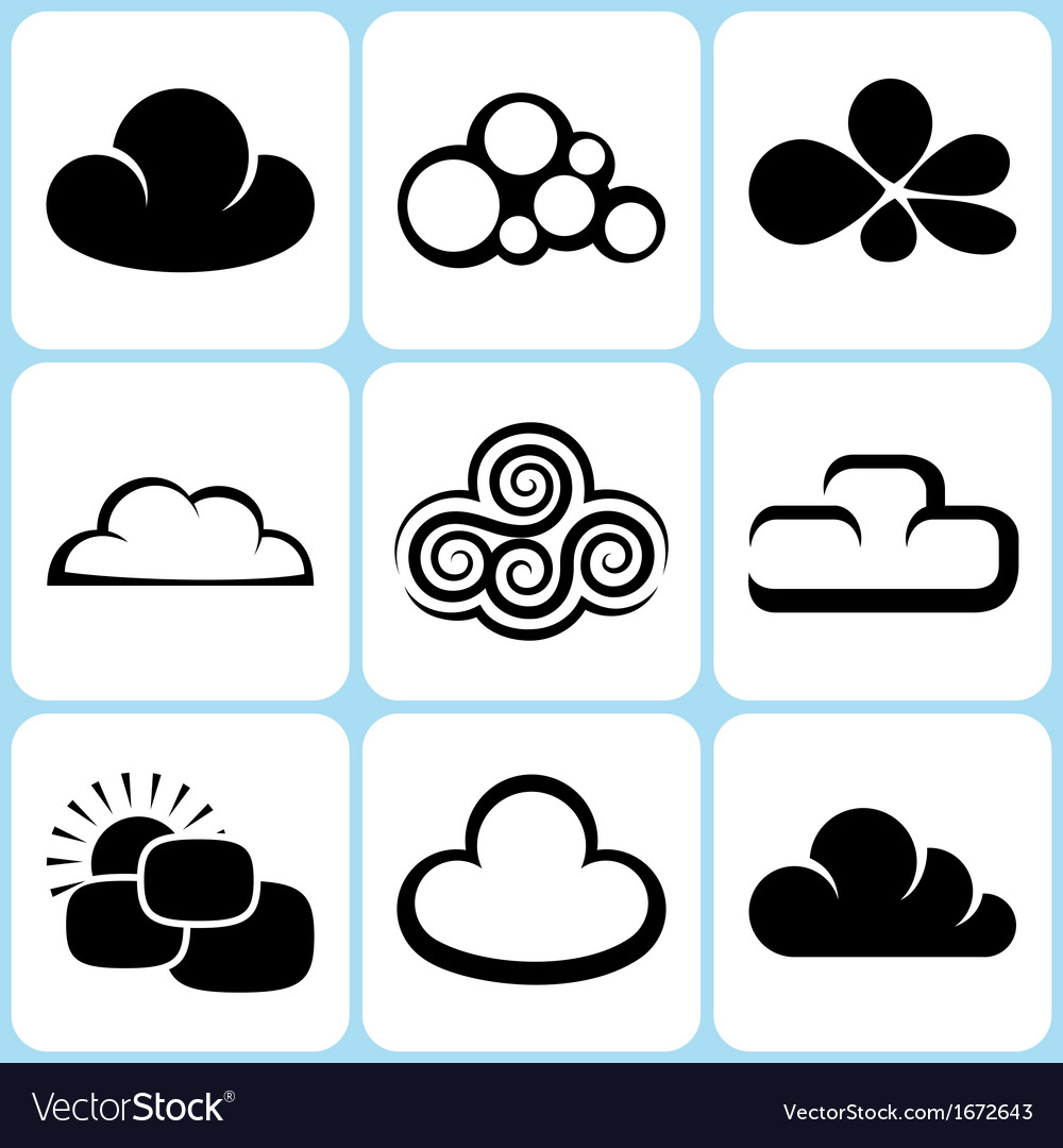 Cloud icons set vector | Price: 1 Credit (USD $1)
