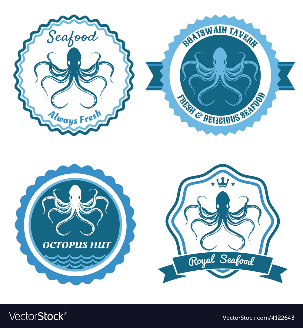 Octopus sea food logo or badge set vector | Price: 1 Credit (USD $1)