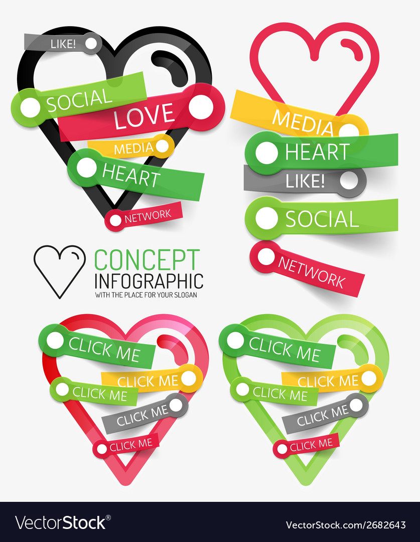Social like heart infographic tags vector | Price: 1 Credit (USD $1)
