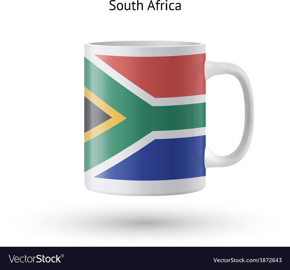 South africa flag souvenir mug on white background vector | Price: 1 Credit (USD $1)