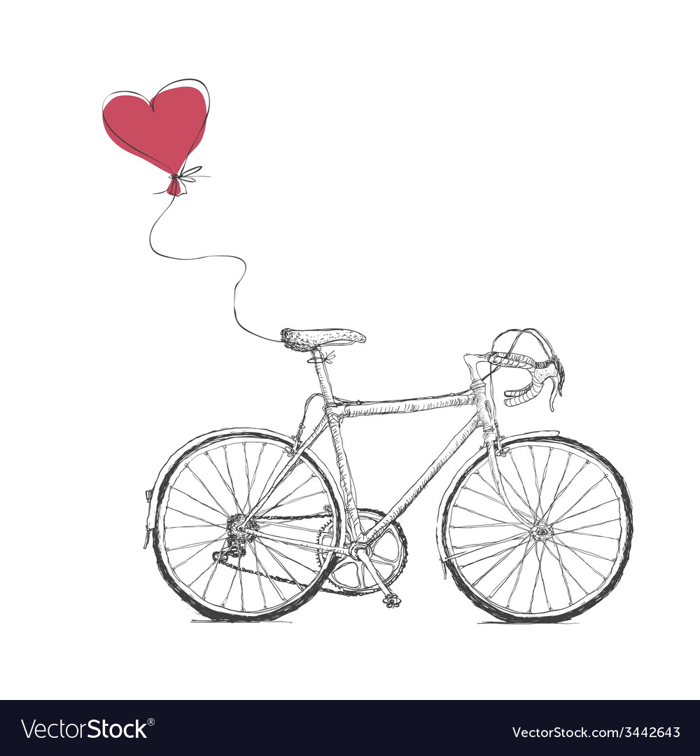 Vintage valentines with bicycle and heart baloon vector | Price: 1 Credit (USD $1)