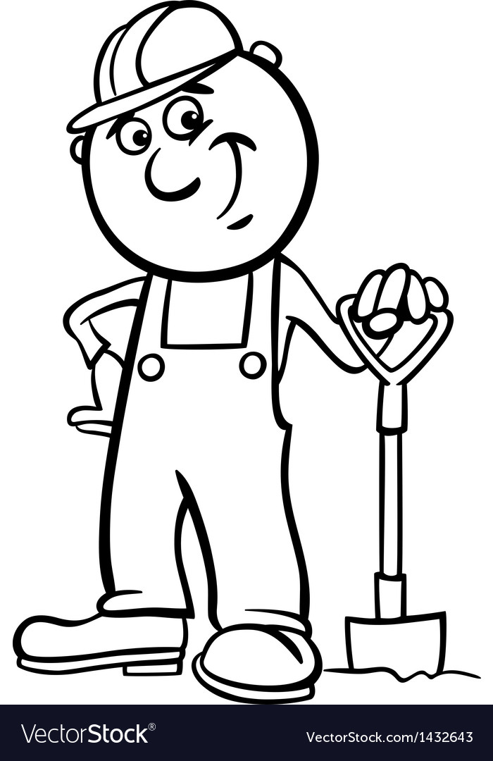 Worker with spade coloring page vector | Price: 1 Credit (USD $1)
