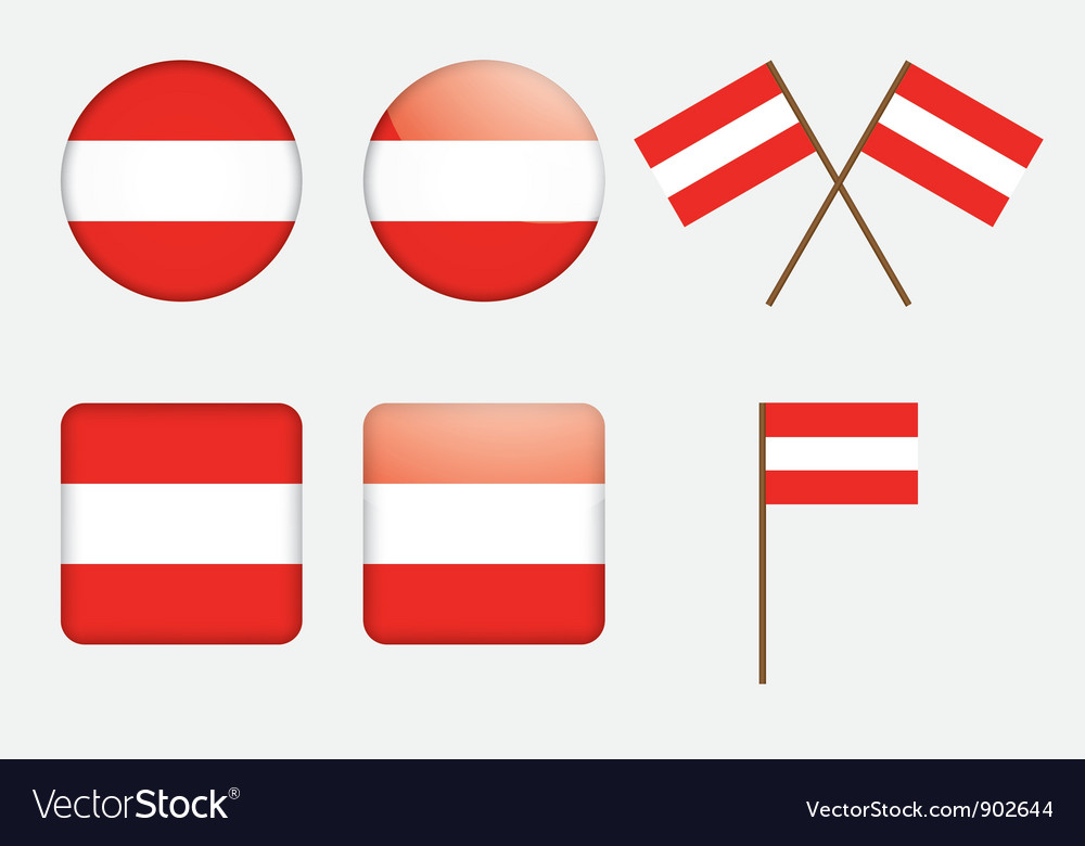 Badges with flag of austria vector | Price: 1 Credit (USD $1)