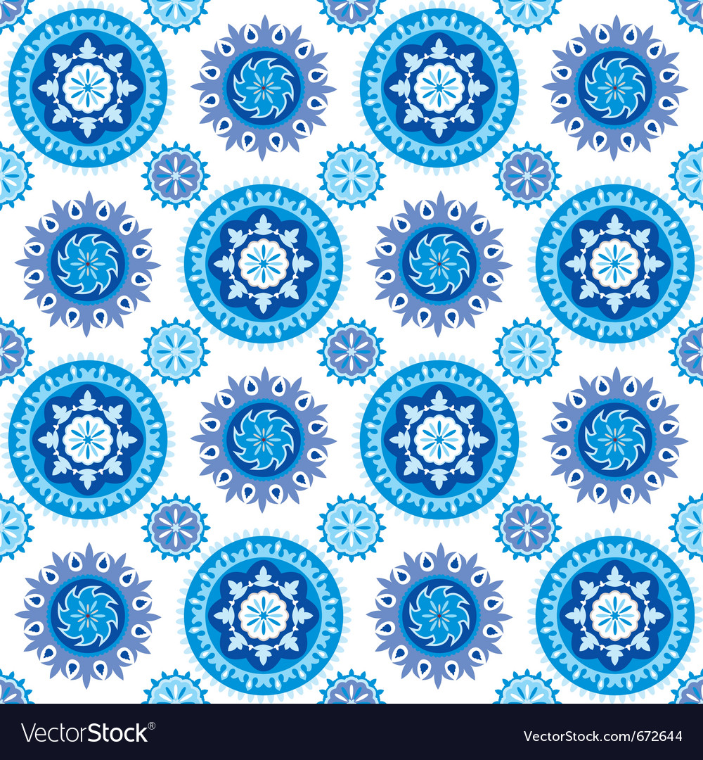Blue and white seamless background with decorative vector | Price: 1 Credit (USD $1)