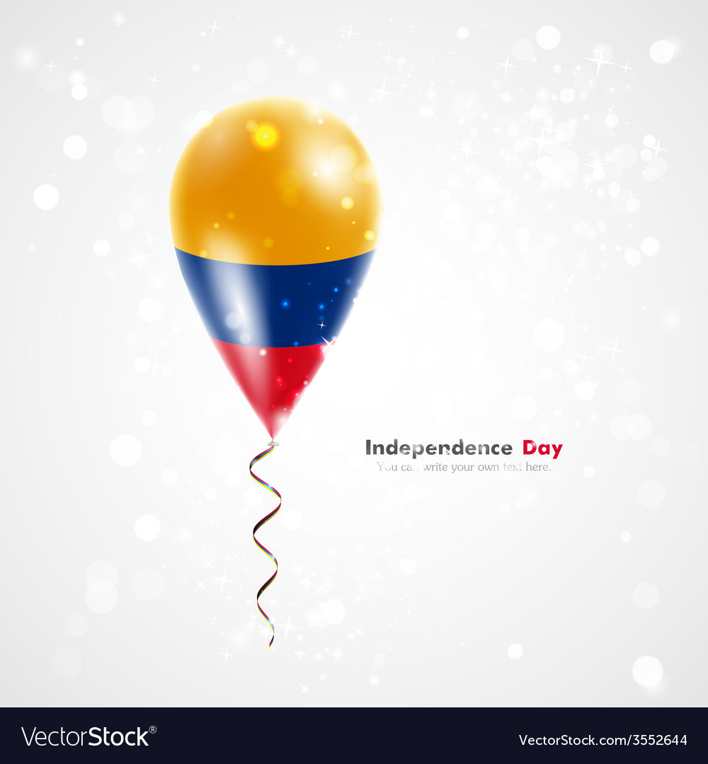 Flag of colombia on balloon vector | Price: 1 Credit (USD $1)