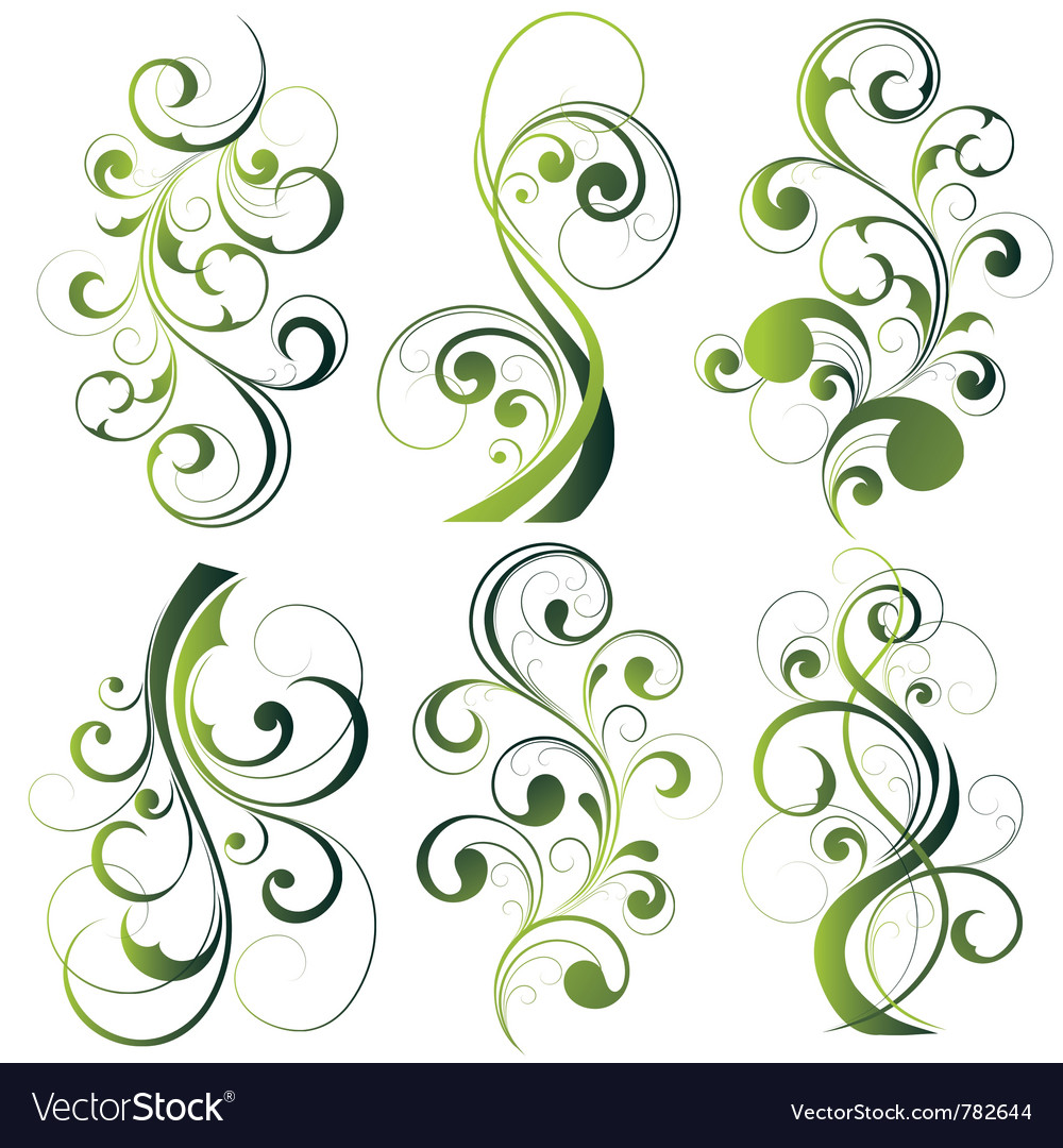 Green floral designs on white vector | Price: 1 Credit (USD $1)