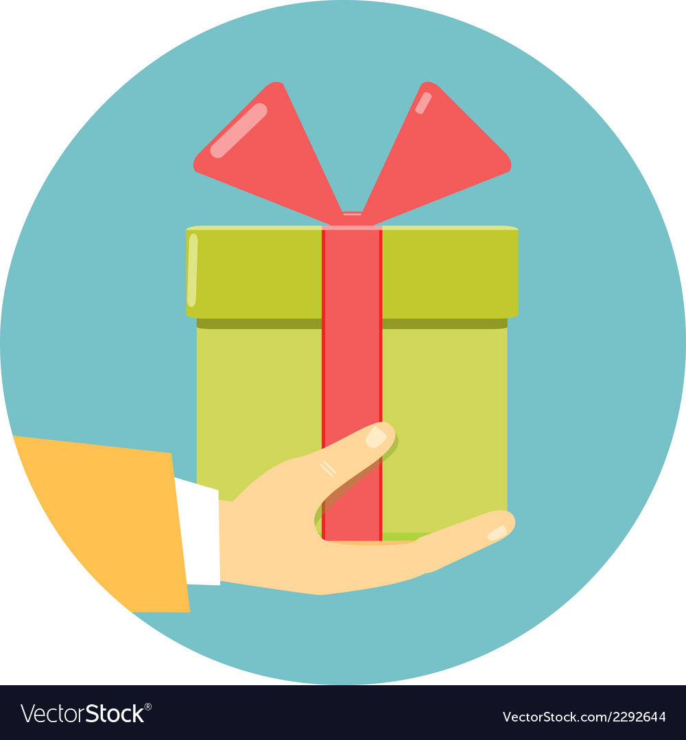 Hand holding green gift box vector | Price: 1 Credit (USD $1)
