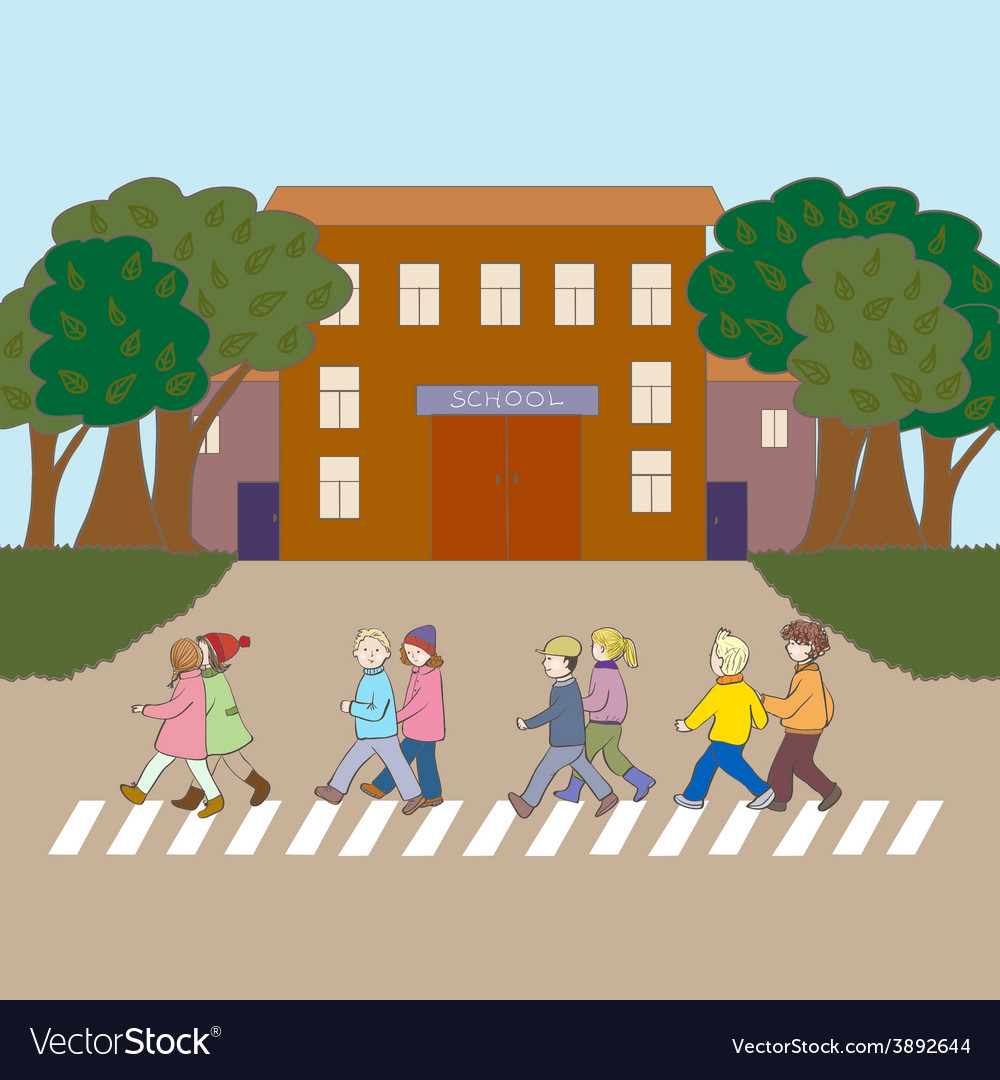 Kids walking to school vector | Price: 1 Credit (USD $1)