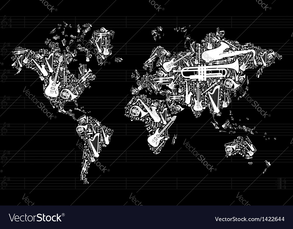 Music instruments in world map vector | Price: 1 Credit (USD $1)