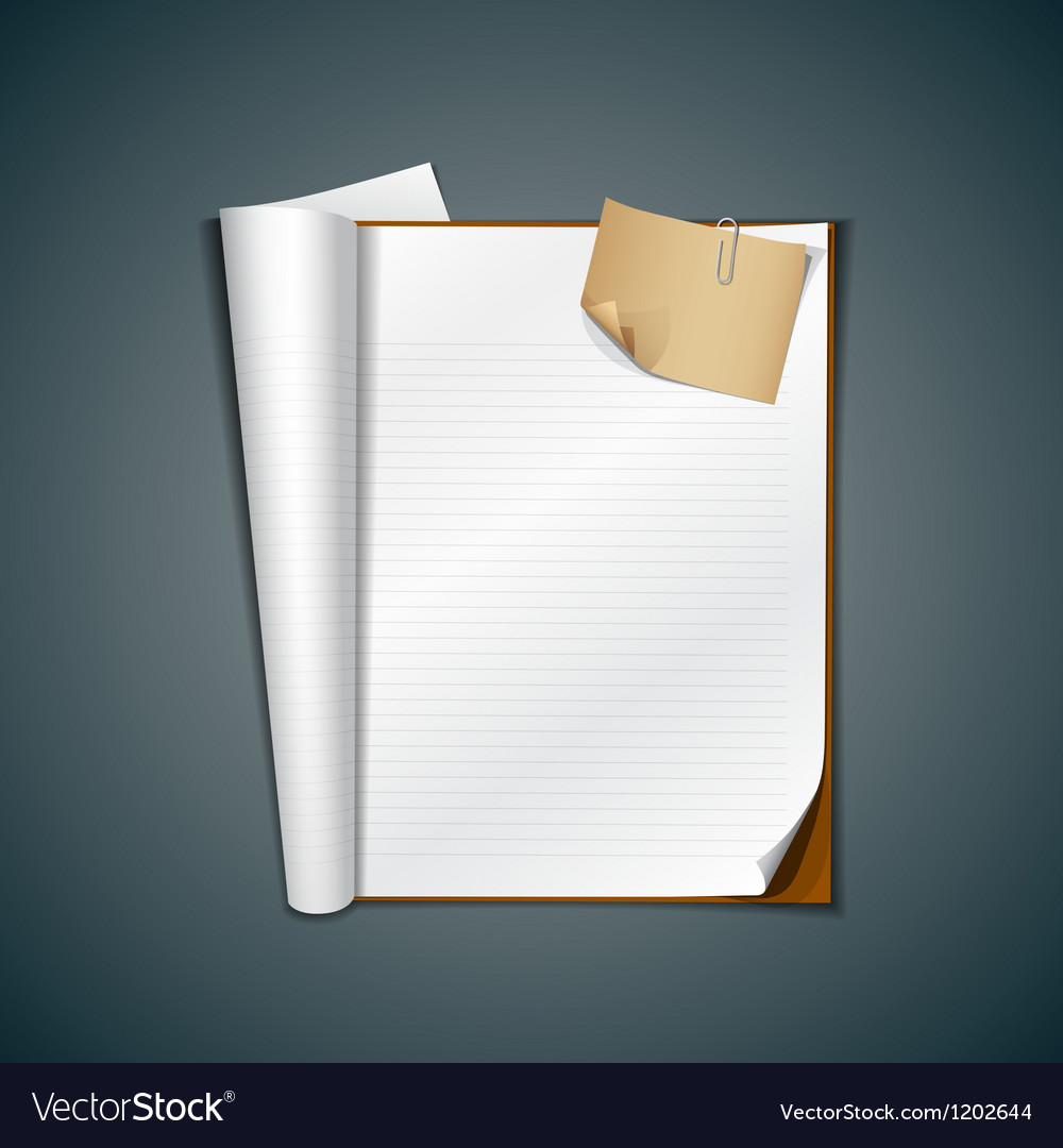 Open white book and vintage paper note vector | Price: 3 Credit (USD $3)