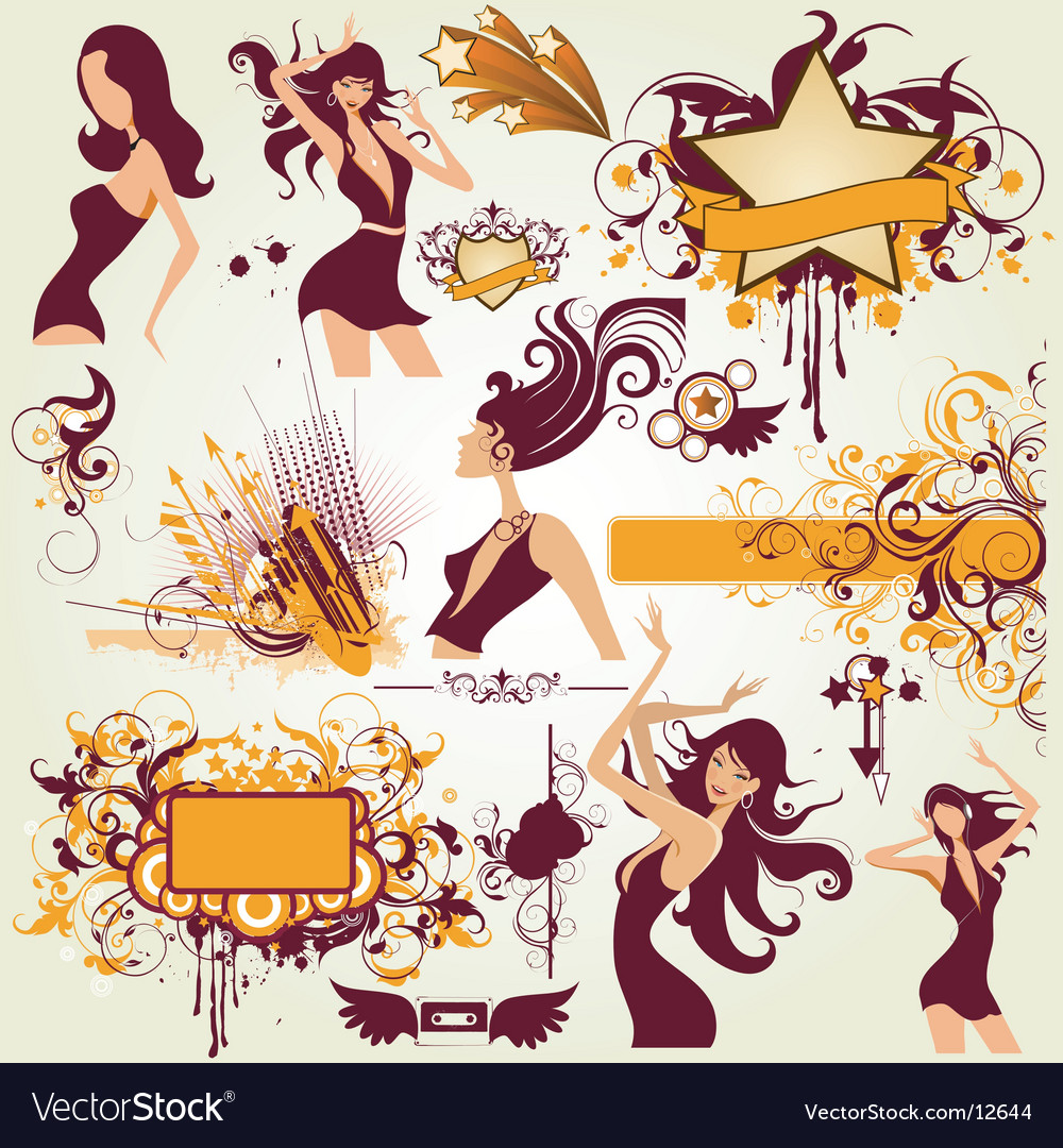 Party urban elements vector | Price: 5 Credit (USD $5)