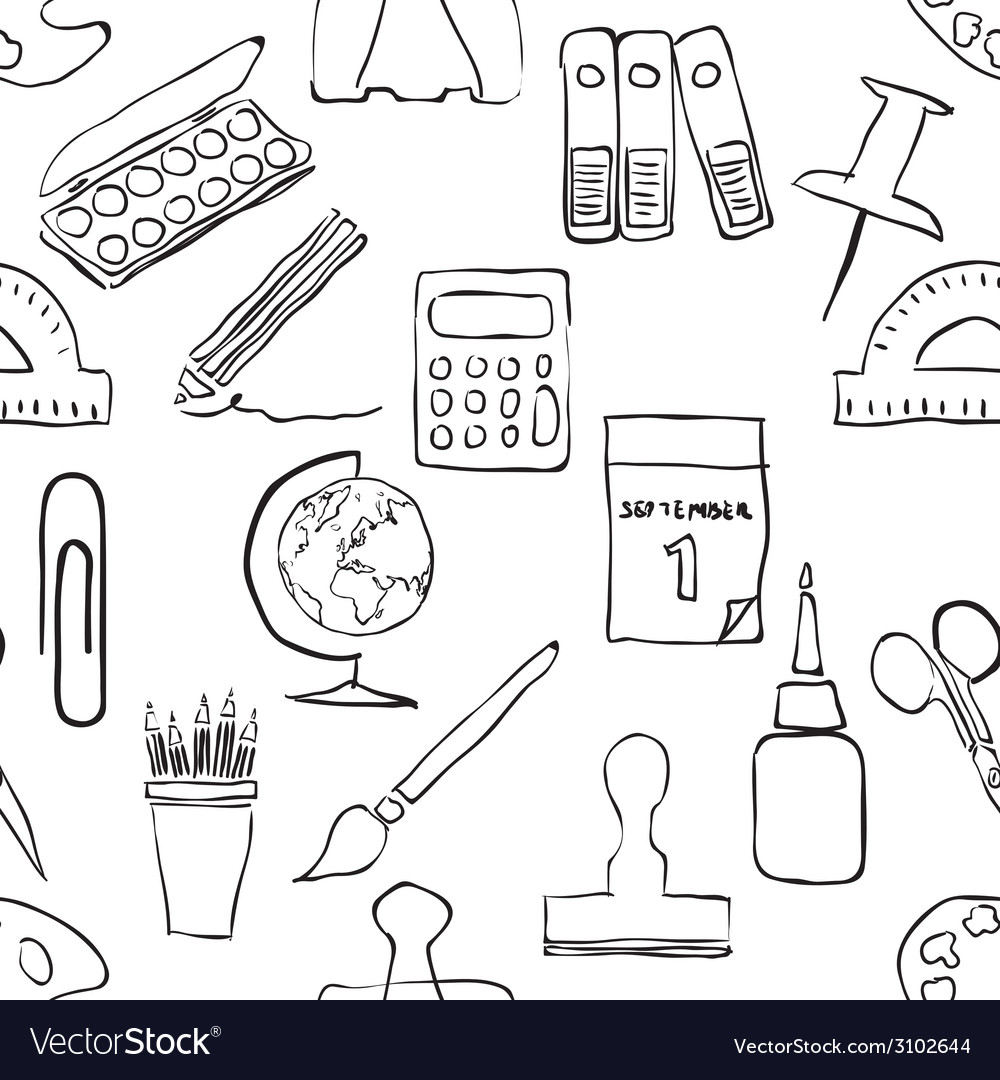 Sketch stationery seamless pattern vector | Price: 1 Credit (USD $1)
