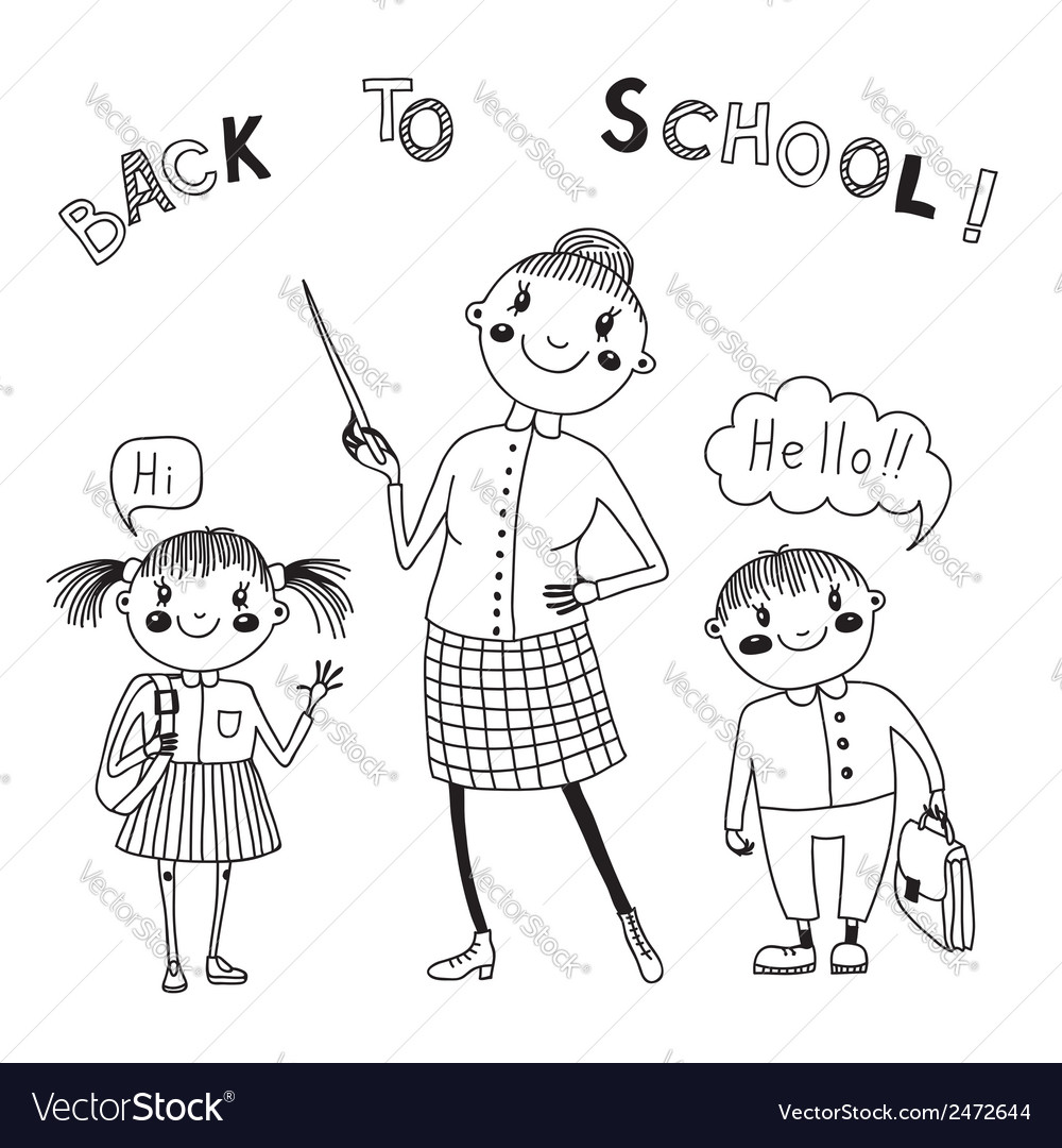 The teacher with the students back to school vector | Price: 1 Credit (USD $1)