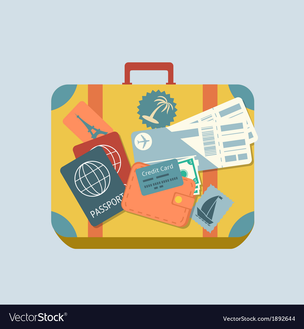 Travel suitcase with stickers vector | Price: 1 Credit (USD $1)