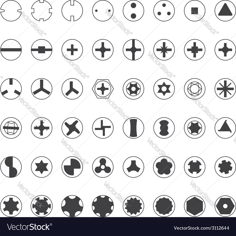 Various screw heads silhouette set vector | Price: 1 Credit (USD $1)