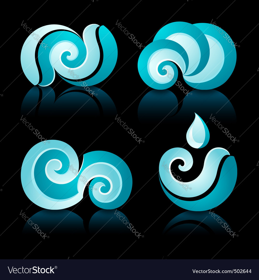 Wave and water icons vector | Price: 1 Credit (USD $1)