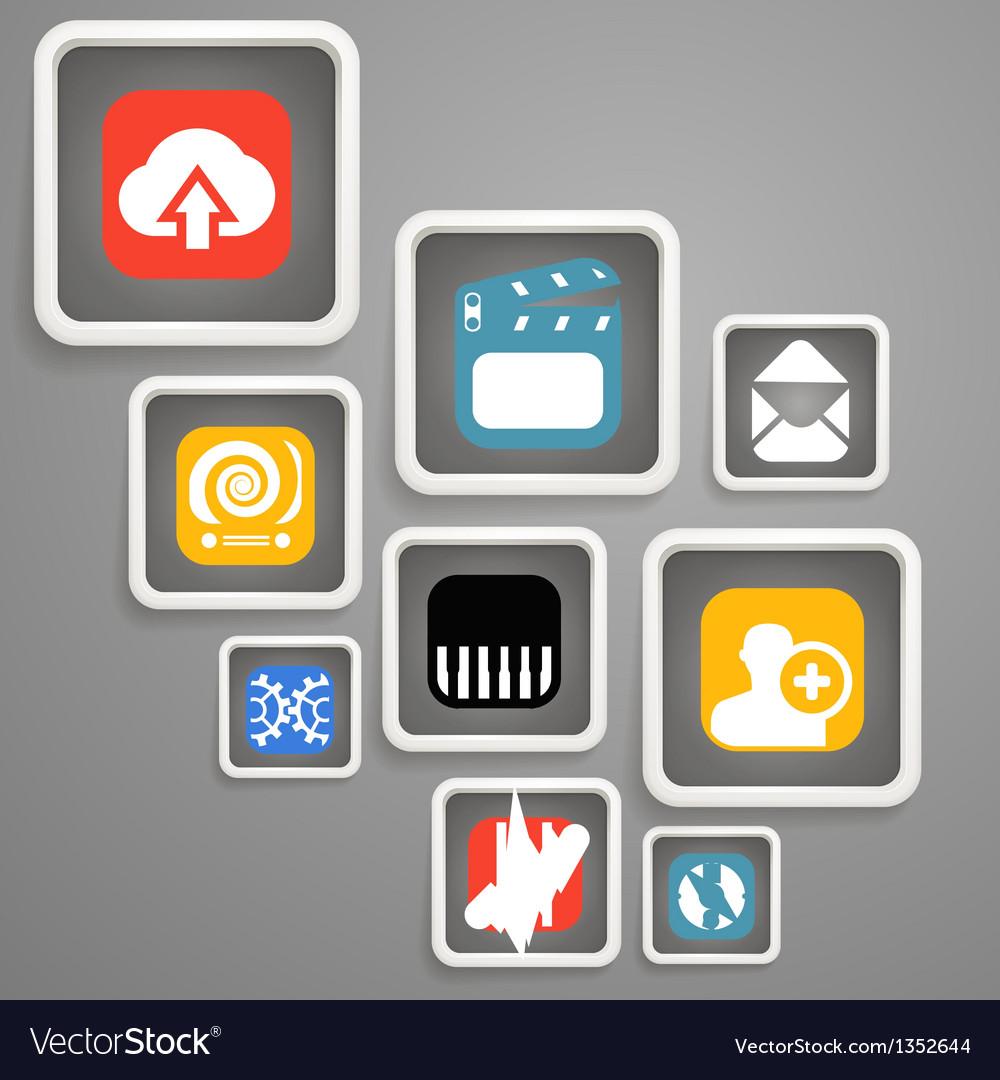 Web media icons in square blocks vector | Price: 1 Credit (USD $1)