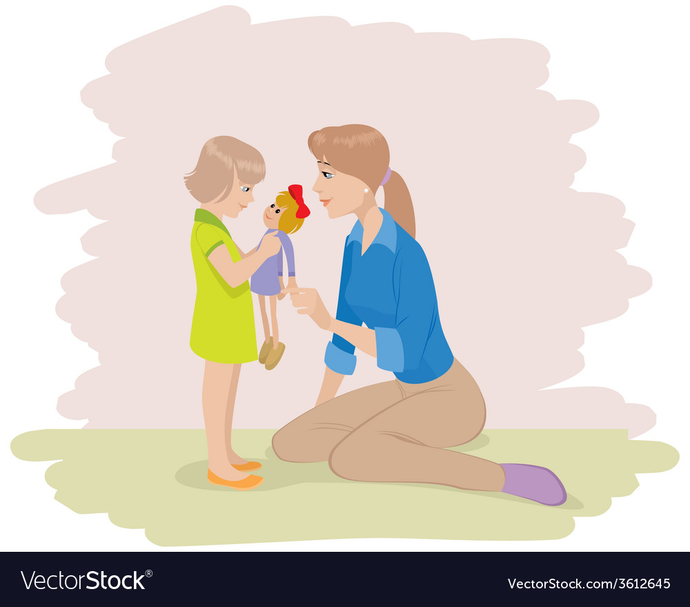 A mother playing with daughter vector | Price: 1 Credit (USD $1)