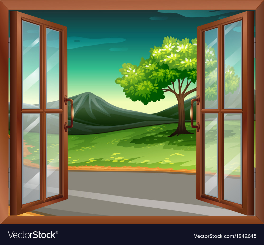 A window of a house near the road vector | Price: 1 Credit (USD $1)