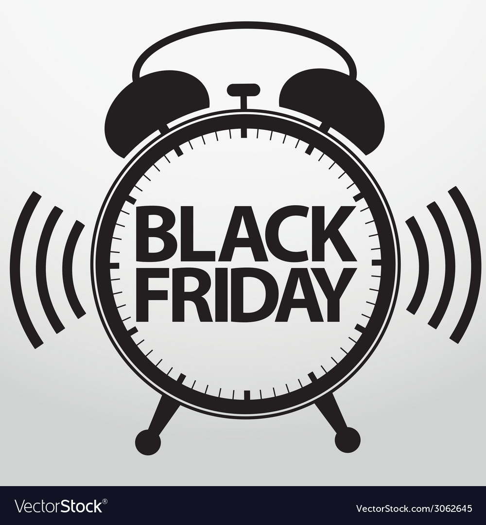 Black friday alarm clock icon vector | Price: 1 Credit (USD $1)