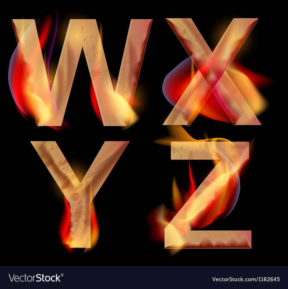 Burning letters wxyz vector | Price: 1 Credit (USD $1)