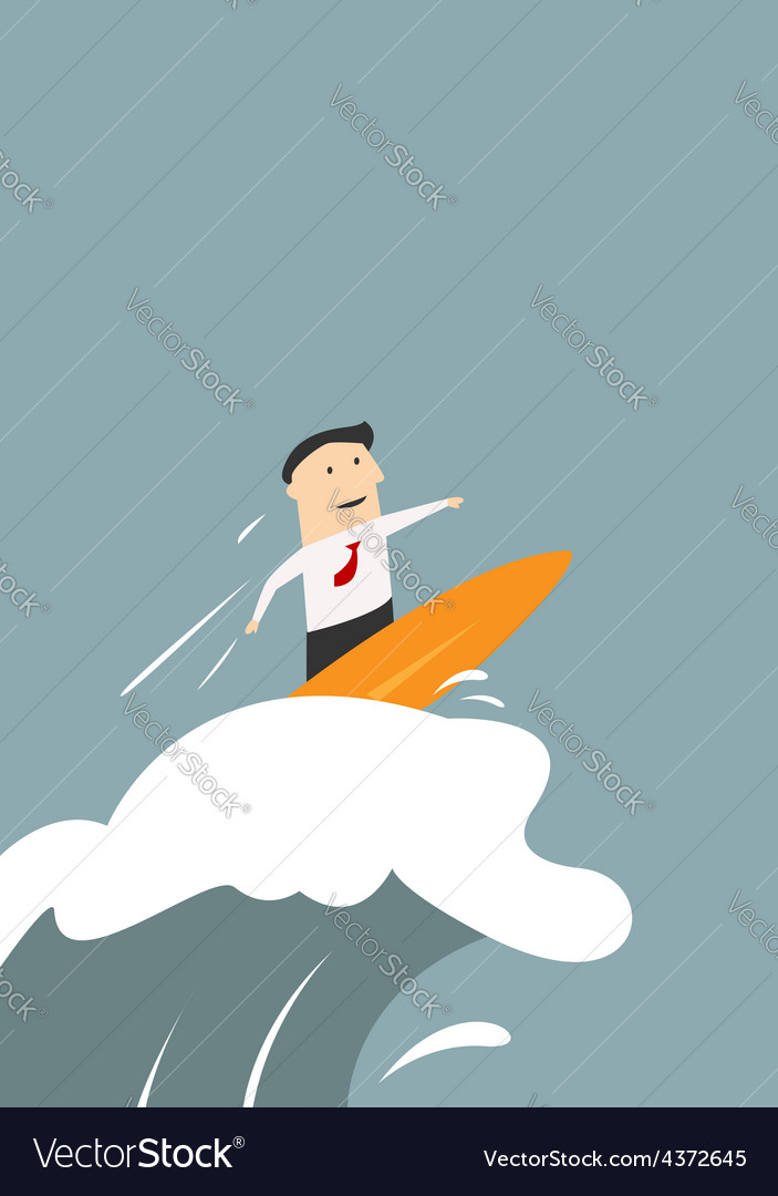 Businessman surfing on a wave of success vector | Price: 1 Credit (USD $1)
