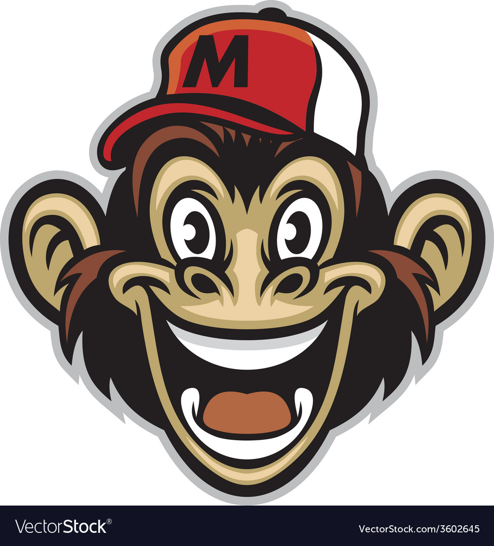 Cartoon of cheerful monkey face vector | Price: 3 Credit (USD $3)