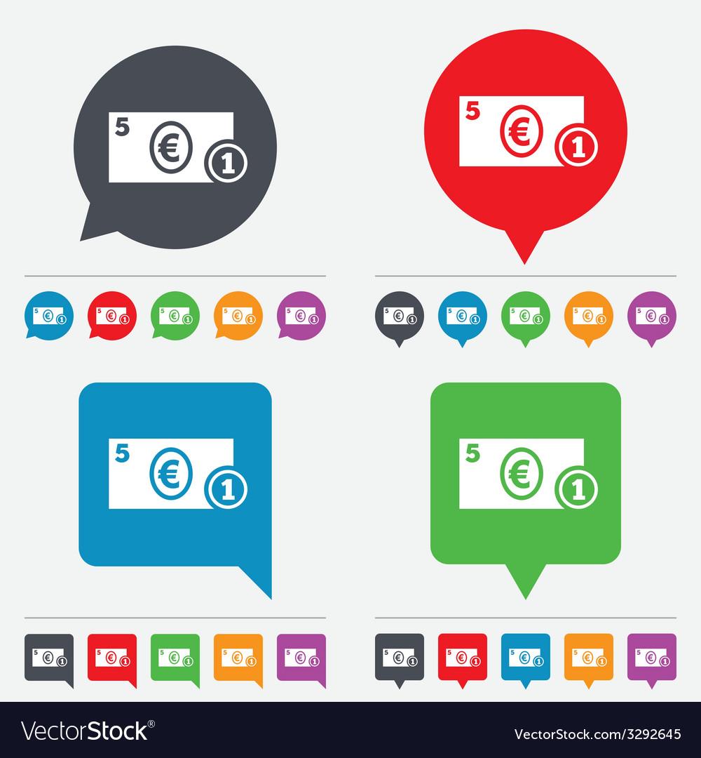 Cash sign icon euro money symbol coin vector | Price: 1 Credit (USD $1)